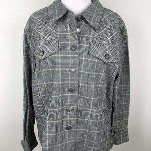 Denim & Co Glen Plaid Womens Jacket Sz L Black